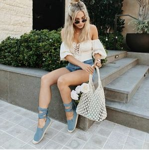Shoes - 🆕//The Venice// Denim blue lace up Espadrille